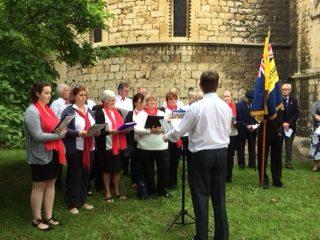 Choir outside by church