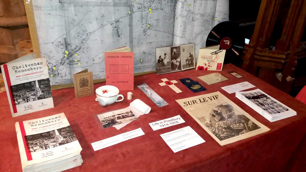 Table with WW1 artifacts and map