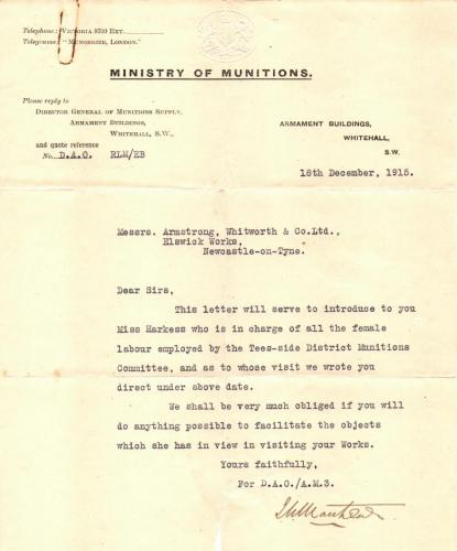 5 WWI letter from the Ministry of Munitions to Armstrong Whitworth and Co. regarding employment of Miss Harkess