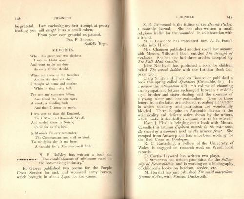 College Magazine 1916 poems by former St Martin's patients 2