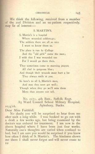College Magazine 1916 poems by former St Martin's patients p145