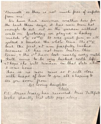 Letter from pupil Elsie Mason to her father 31 March 1916  p3
