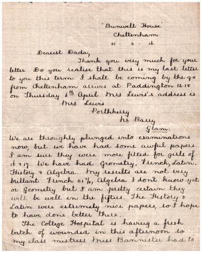 Letter from pupil Elsie Mason to her father 31 March 1916 p1
