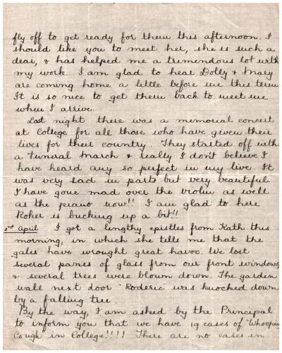 Letter from pupil Elsie Mason to her father p2 31 March 1916 p1