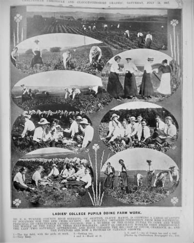 Page from Cheltenham Chronicle and Chronicle Graphic of CLC girls helping with farm work, 1917 1