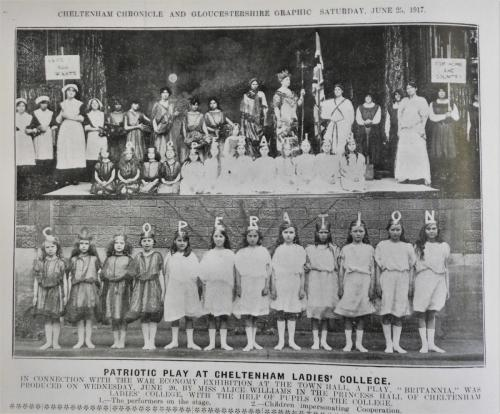 Patriotic play performed by CLC pupils at the war economy exhibition at Cheltenham Town Hall, 1917