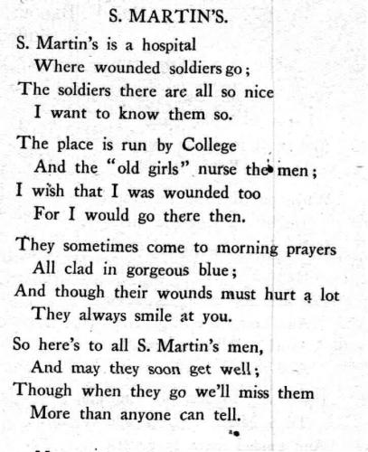 Poem written by a pupil, aged 12, 1916 - all the patients wore a special blue uniform to show that they had been injured in the war.
