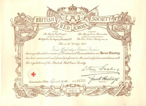 Red Cross Certificate - Home Nursing