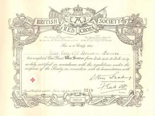 Red Cross Certificate - One Year's War Service