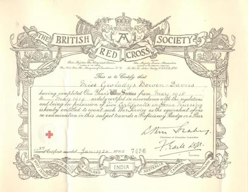 Red Cross Certificate - One Year's War Service2