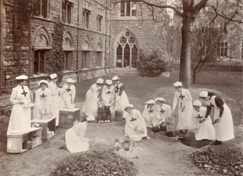Red Cross Inspection, 1911 field house hospital cooking skills,  LF 310-40