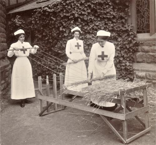 Red Cross Inspection, 1911 straw mattress making LF 310-4b