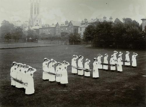 Red Cross Stretcher Drill on playing field, 1910 LF310-20